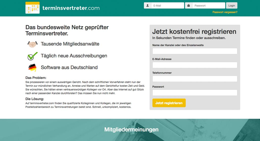 Legal Tech: Terminsvertreter.com